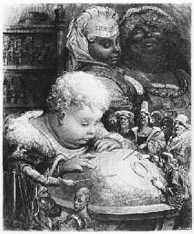Education of Gargantua, illustration from ''Gargantua'' Francois Rabelais (1494-1553) ; engraved by