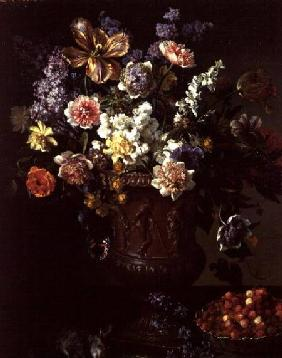 Flowers in a Sculpted Urn with a Bowl of Wild Strawberries and Hare on a Ledge