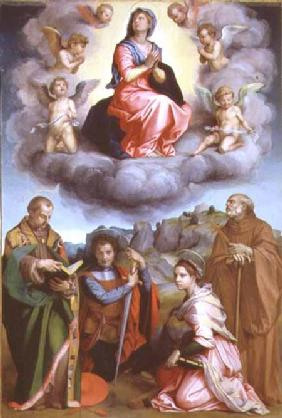 Madonna in Glory with Four Saints (panel)