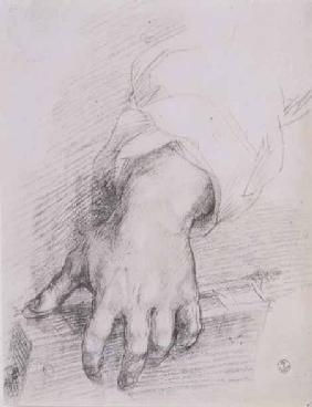 Study of a hand for the Madonna of the Harp (chalk on paper)