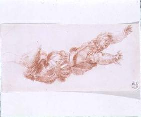 Study of a man suspended by his right leg (chalk on paper)