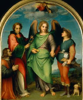 The Archangel Raphael with Tobias, St Lawrence and the Donor, Leonardo di Lorenzo Morelli