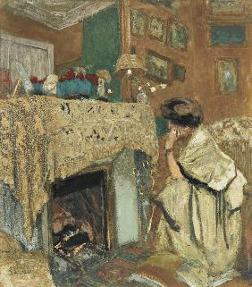Madame Hessel by the fireplace