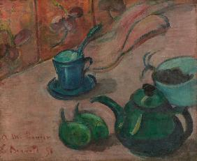 Still life with teapot, cup and fruit