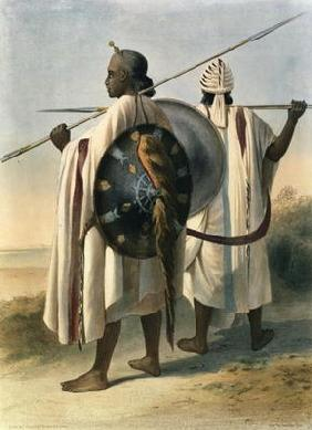 Abyssinian Warriors, illustration from 'The Valley of the Nile', engraved by Eugene Le Roux (1807-63