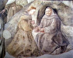 The Reform of the Carmelite Rule, detail of two Carmelite friars