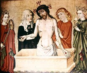 Christ at the sepulchre, supported his Mother and Saint John