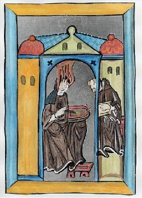 Hildegard of Bingen receiving the Light from Heaven, c.1151