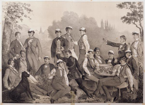 'Mensuren' or Student Members of the Duelling Society on a Outing (litho)