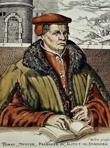 Thomas Muntzer, c.1600 (hand coloured woodcut)
