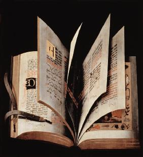 Trompe l'oeil of an open manuscript