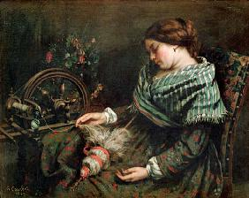 The sleeping spinner,1853 Canvas Musee F