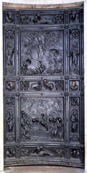 Burial and Transfiguration of Christ, door relief