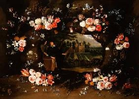 Garland of Flowers Encircling a Medallion Representing Nicolas de Man in front of his Property at An