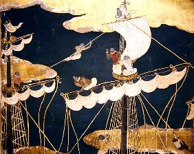 The Arrival of the Portuguese in Japan, detail of ship''s mast and crow''s nest, from a Namban Byobu