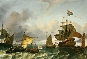 The Frigate Princes Maria, Flying The Standard Of Prince William Of Orange, On The Ij Off Durgerdam,