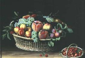 Basket of Apricots, Grapes and Strawberries