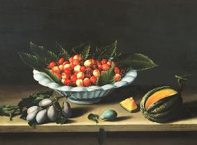 A Bowl of Cherries with Plums and a Melon