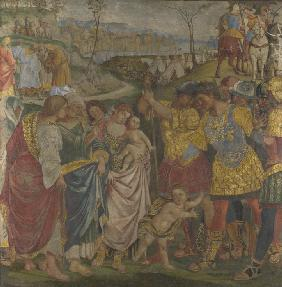 Coriolanus persuaded by his Family to spare Rome (Frescoes from Palazzo del Magnifico, Siena) Veturi