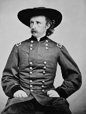 Portrait of General A. Custer (1839-1876) (b/w photo)
