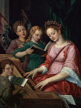 St. Cecilia Accompanied by Three Angels