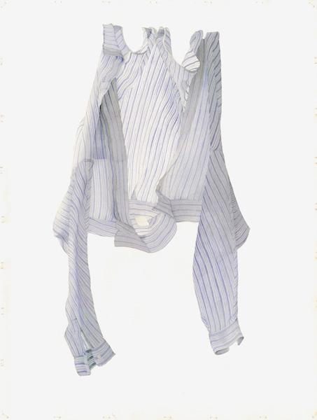 Stripy Blue Shirt in a Breeze, 2004 (w/c on paper)