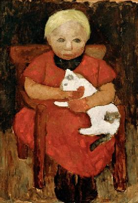 Child with cat
