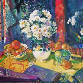 Flowers and Fruit in a Green Bowl, 1997 (oil on canvas)