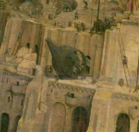 The Tower of Babel, detail of construction work, 1563 (oil on panel) (detail of 345)