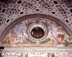 Lunette from the interior of the villa depicting, Vertumnus and Pomona