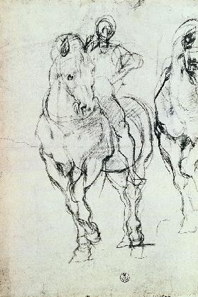 Study of a horseman for 'The Israelites Quenching Their Thirst in the Desert'