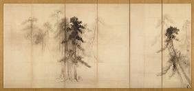 Pine Trees (Right of a pair of six-section folding screens)