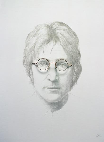 Lennon (1940-80) (silverpoint and spectacles on chinese white on hot pressed paper laid on board)